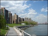 A view of Roosevelt Island taken from the East side facing north