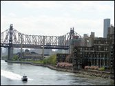 Roosevelt Island and the Queensboro Bridge as seen from the Roosevelt Island Bridge from Queens