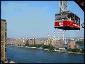 The Roosevelt Island Tram in flight